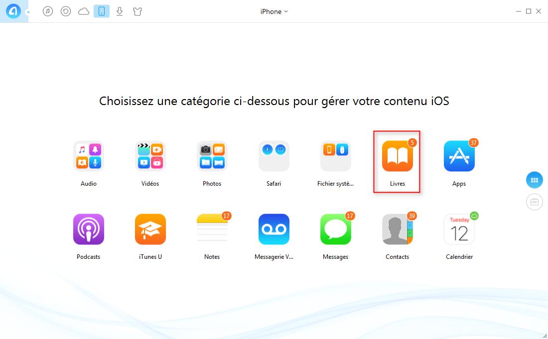 Comment transférer les livres iPhone vers iPad rapidement – étape 2