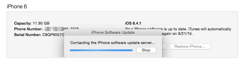 Problèmes et solutions d'iOS 9/9.1/9.2/9.3 - Contacter le serveur des mises à jour du logiciel