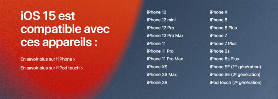 Compatibilité d'iOS 15