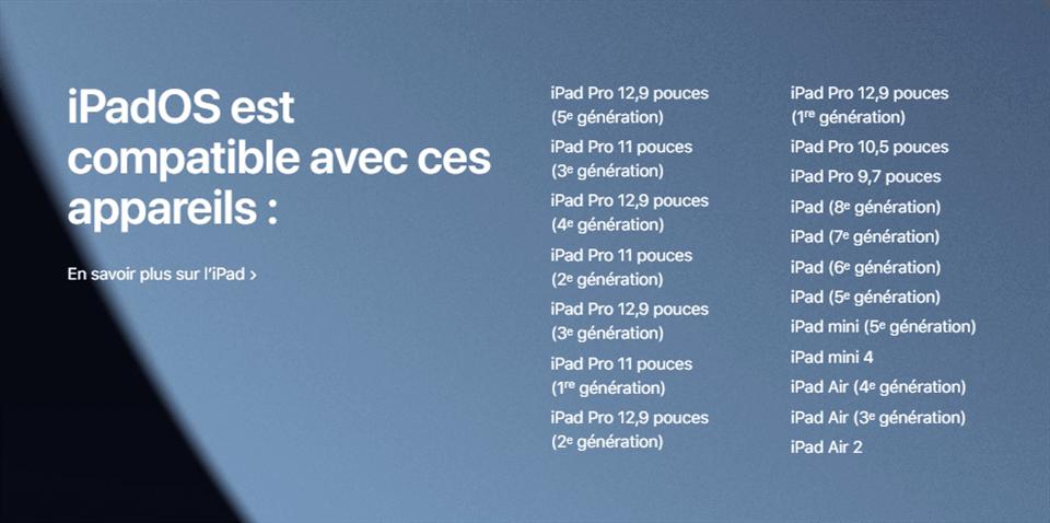 Compatibilité d'iPadOS 15