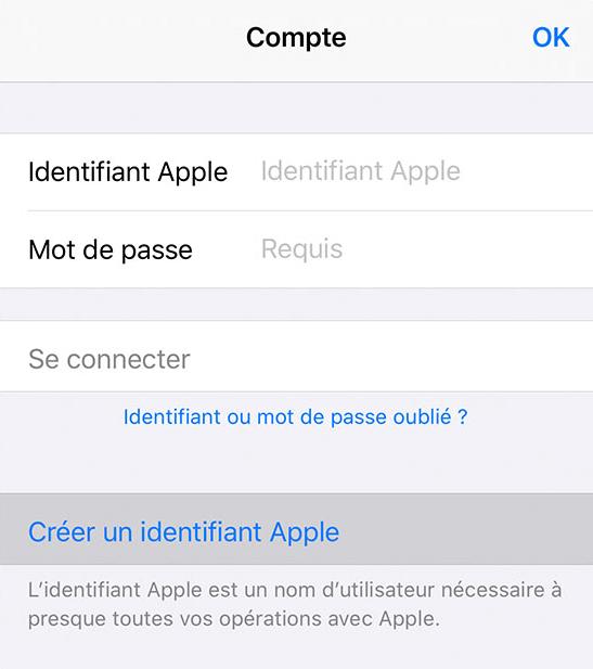 Connexion au compte Apple sur l'appareil cible