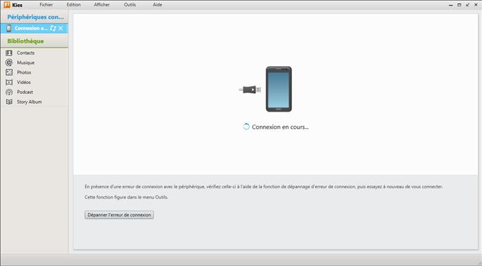 Connecter le téléphone à Samsung Kies
