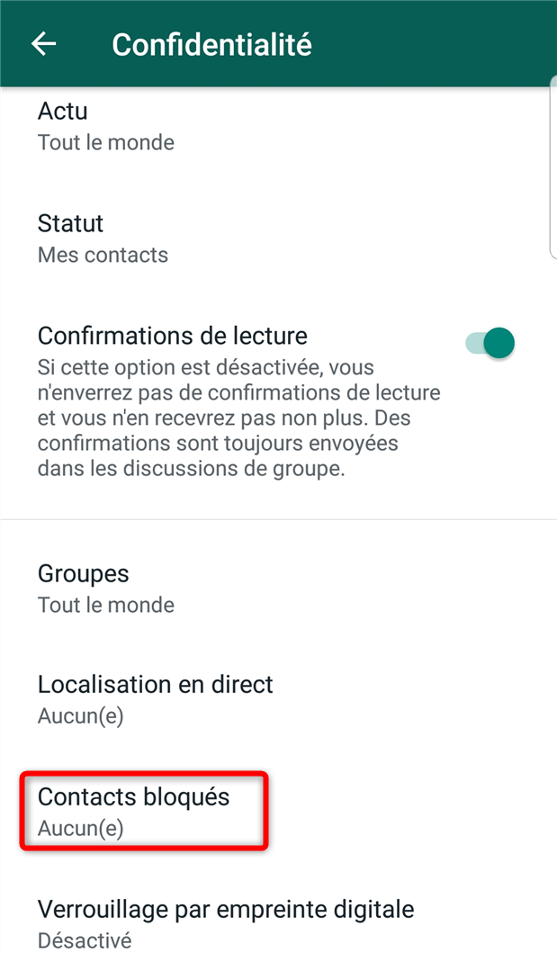 Consultation de la liste des contacts bloqués