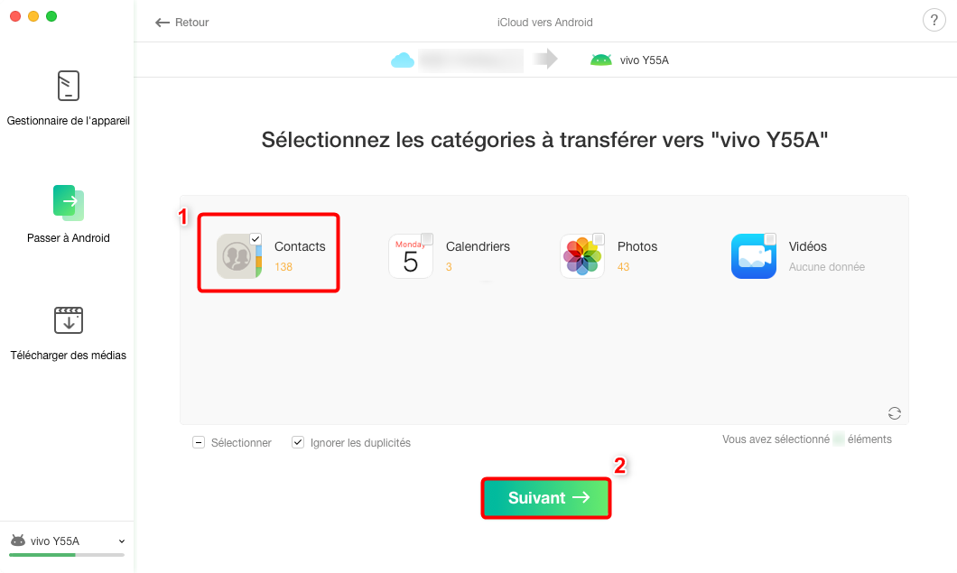 Transférer les contacts iCloud vers Android