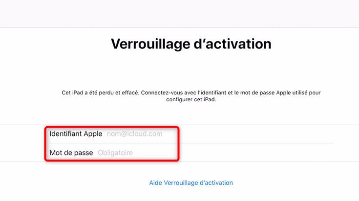Désactiver le verrouillage d'activation de l'iPad