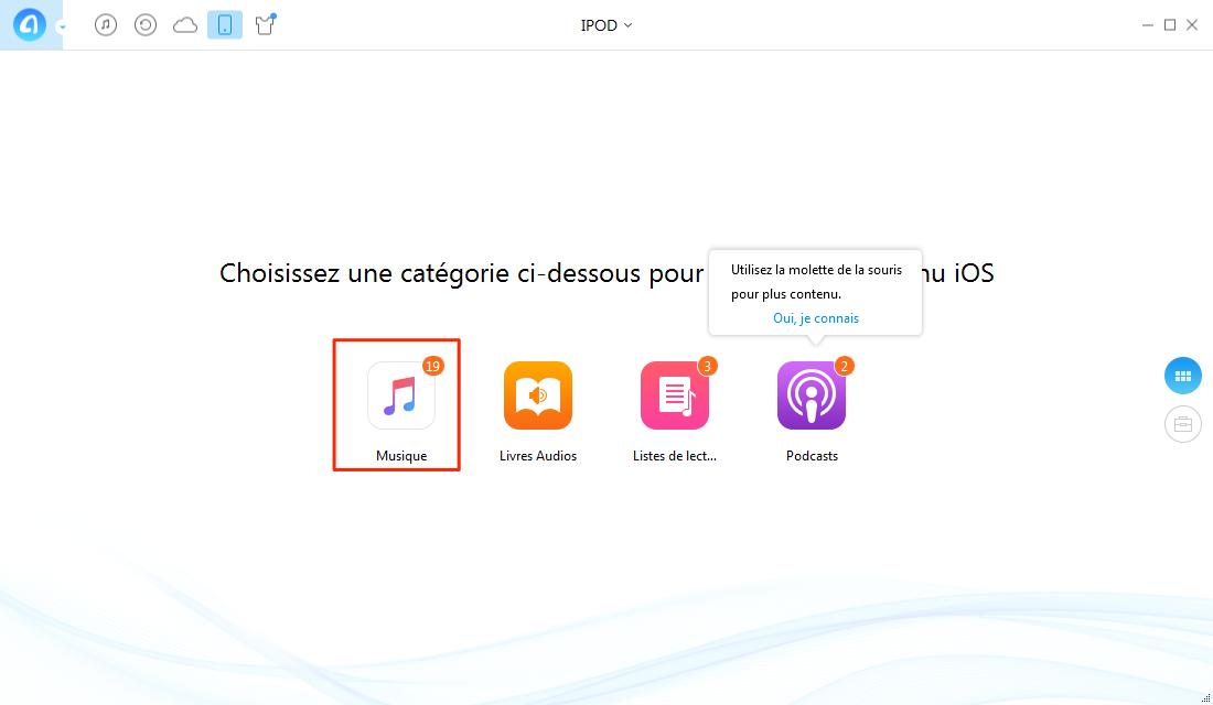 Copier les musiques d'iPod vers PC - étape 2