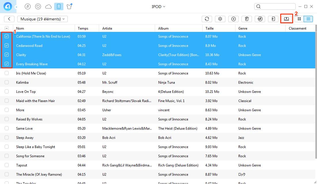 Copier les musiques d'iPod vers PC - étape 3