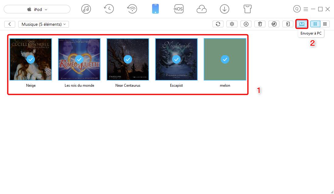 Mettre de la musique iPod vers Windows 10 - étape 3