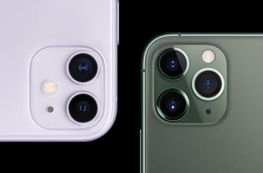 Capteurs de l'iPhone 11 (à gauche) et l'iPhone 11 Pro