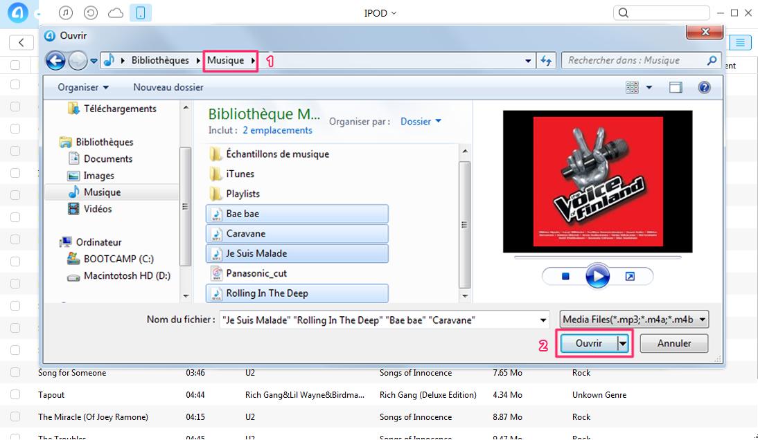 Comment transférer musique PC vers iPod – étape 2