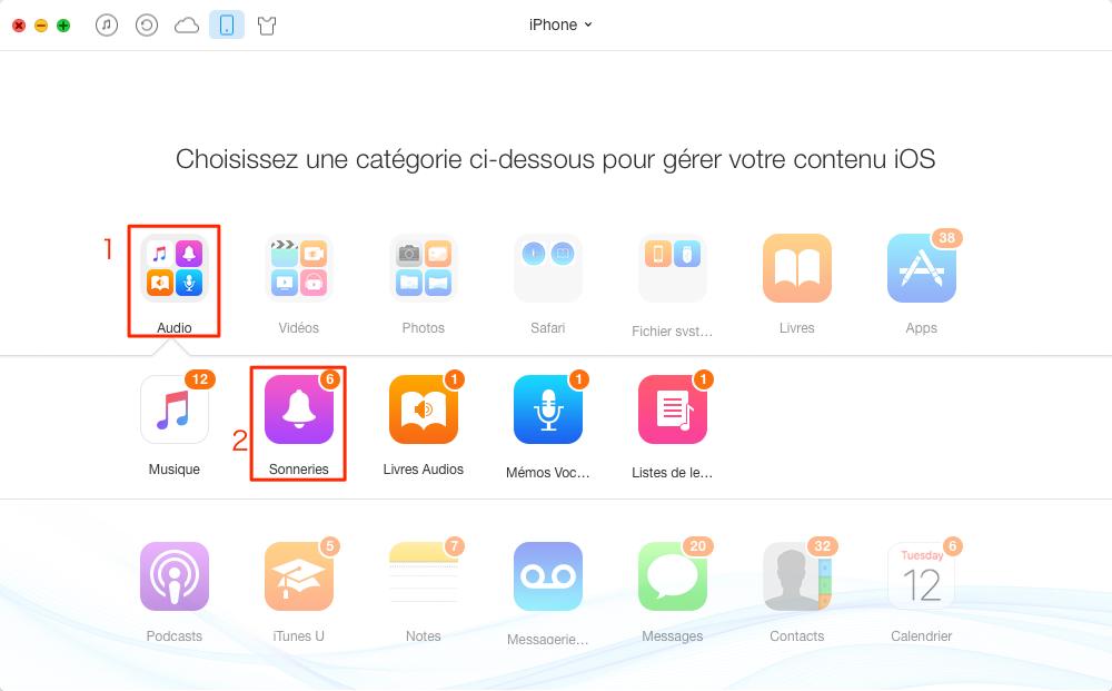Ajouter des contenus vers iPhone avec AnyTrans - étape 2