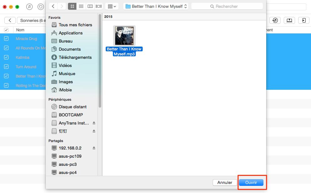 Convertir musique en sonnerie sur iPhone avec AnyTrans - étape 3