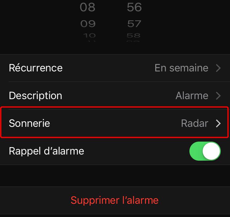 Changer la sonnerie du réveil sur iPhone - étape 3