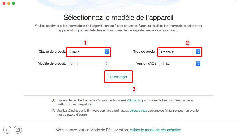 Téléchangement du package de firmware sur iPhone - étape 4