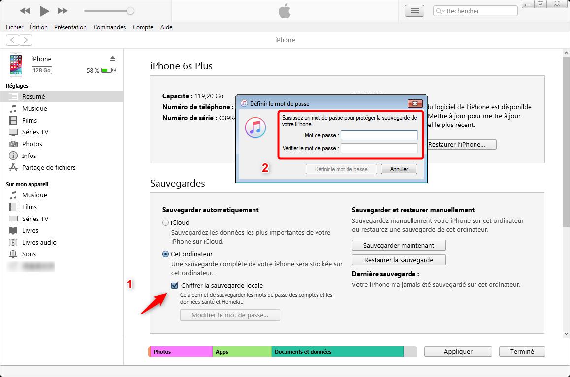 Rechiffrer le mot de passe de la sauvegarde iTunes