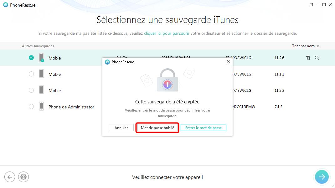 Décrypter votre sauvegarde iPhone rapidement – étape 2