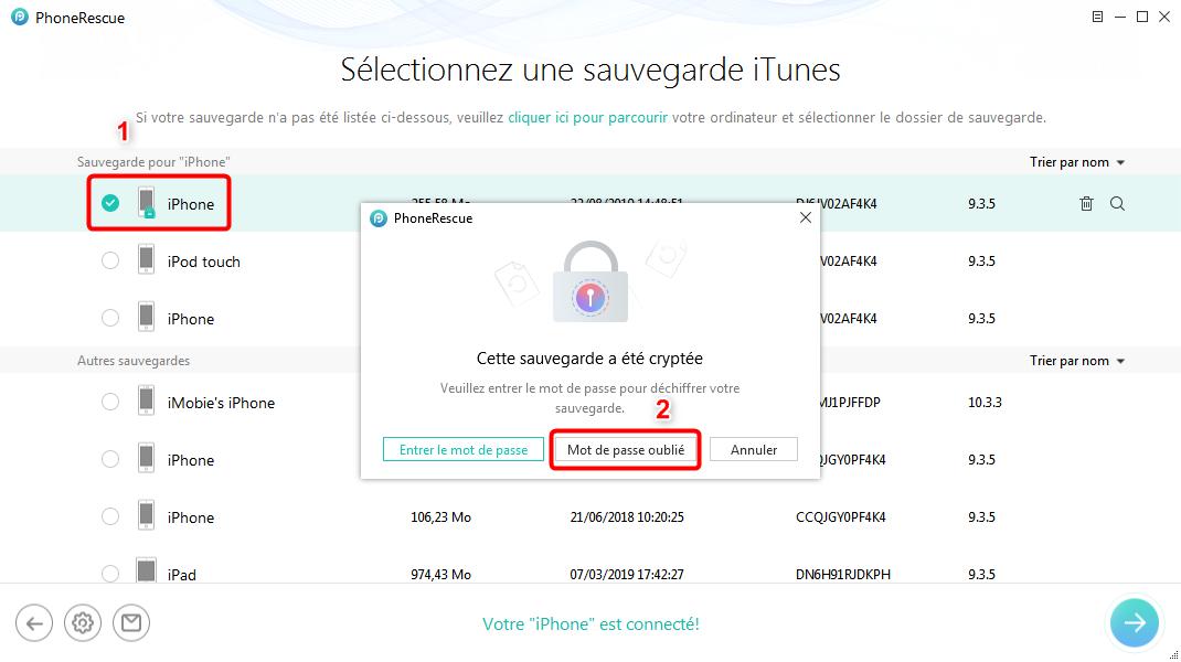 Décrypter une sauvegarde de iTunes sans difficulté -étape 2