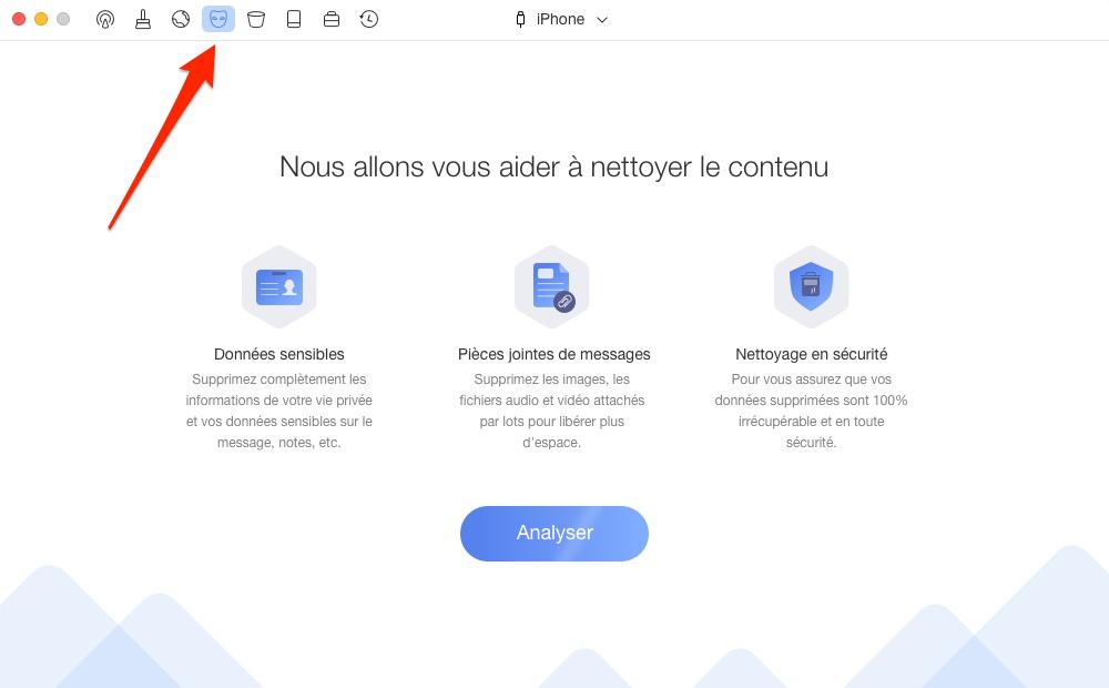Supprimer les messages et les fichiers joints sur iPhone – étape 1