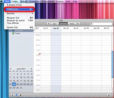 Lancement d'iCal sur Mac