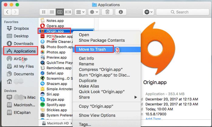 Désinstaller Origin Mac