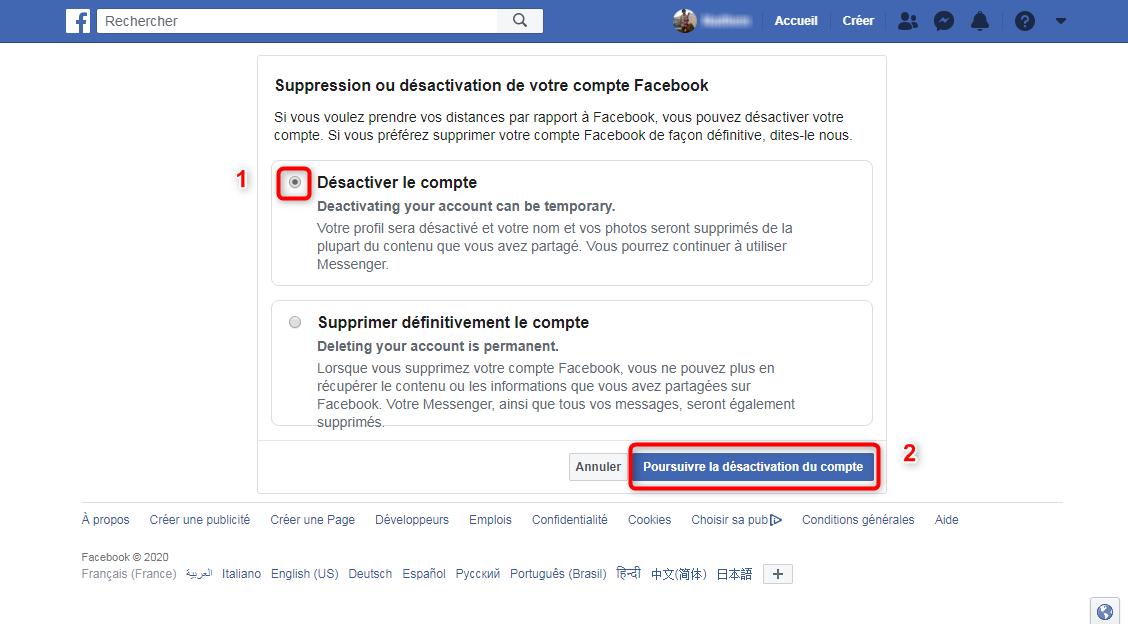 Désactiver ou supprimer un compte Facebook via l'ordinateur - étape 3