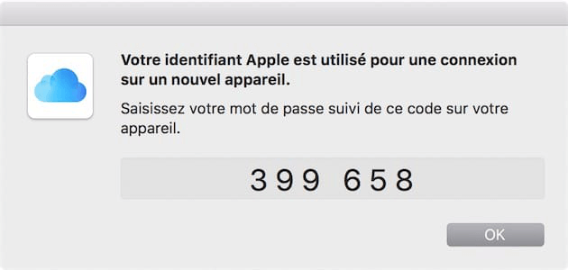 Exemple d'un code de validation affiché sur un Mac