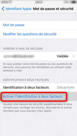 Menu d'activation de la fonctionnalité