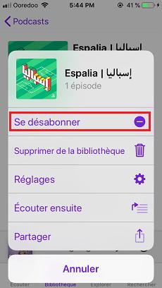 Désactiver les notifications de podcast
