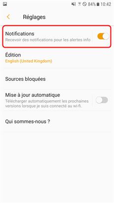 Désactiver l'option Notifications