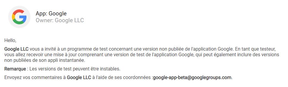Accès à la page de désactivation du test beta