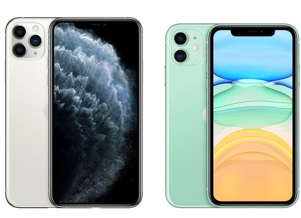 Design de l'iPhone 11 Pro (à gauche) et l'iPhone 11