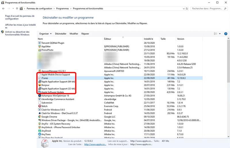Désinstaller iTunes et les composants logiciels associés