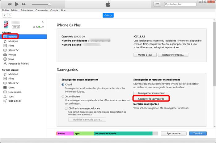 Dévérrouiller iPhone sans mot de passe depuis iTunes - étape 3
