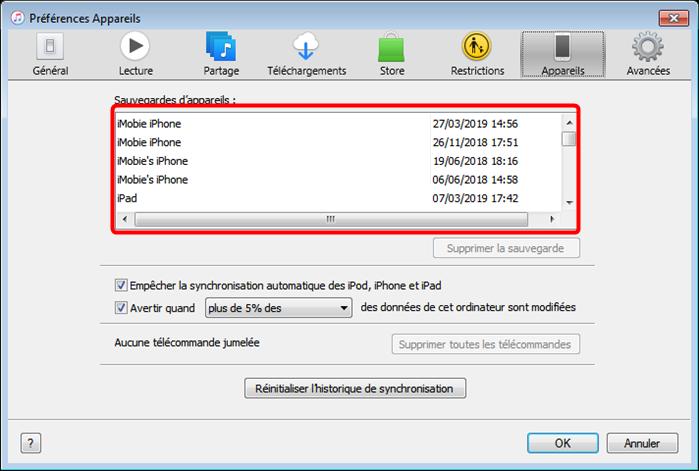 Dévérrouiller iPhone sans mot de passe depuis iTunes - étape 4
