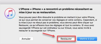Réinitiliaser l'iPhone avec iTunes