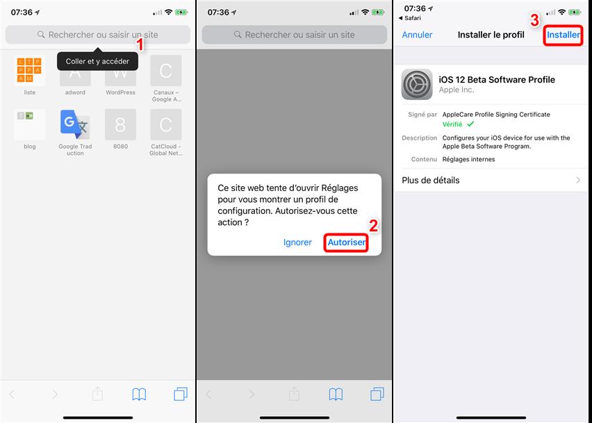 Télécharger la bêta d'iOS 12/12.1.1