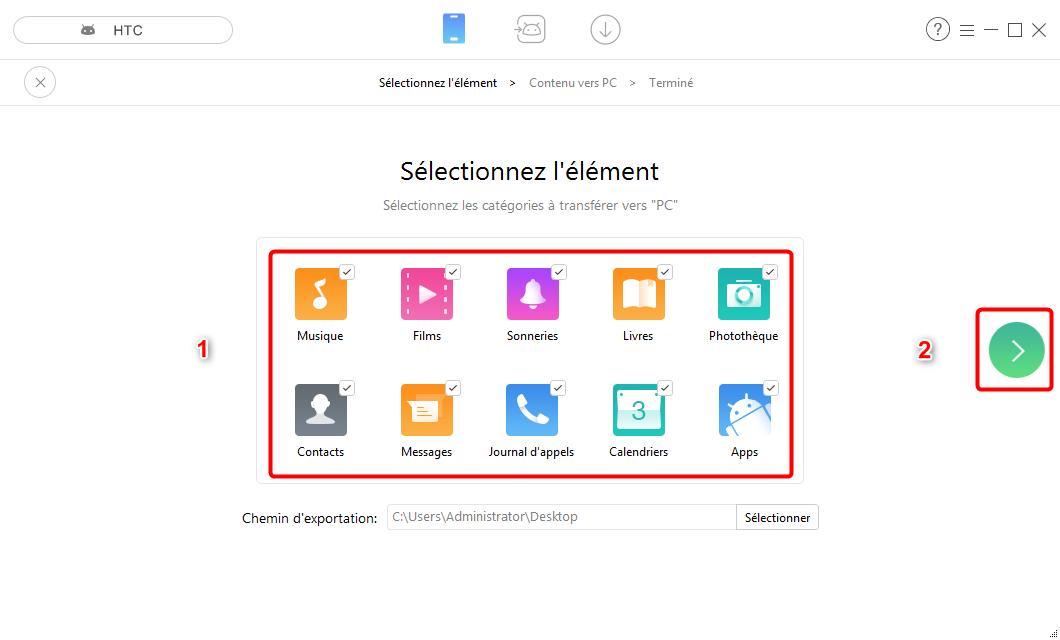 Transfert des données HTC vers Samsung en 1 clic - étape 2