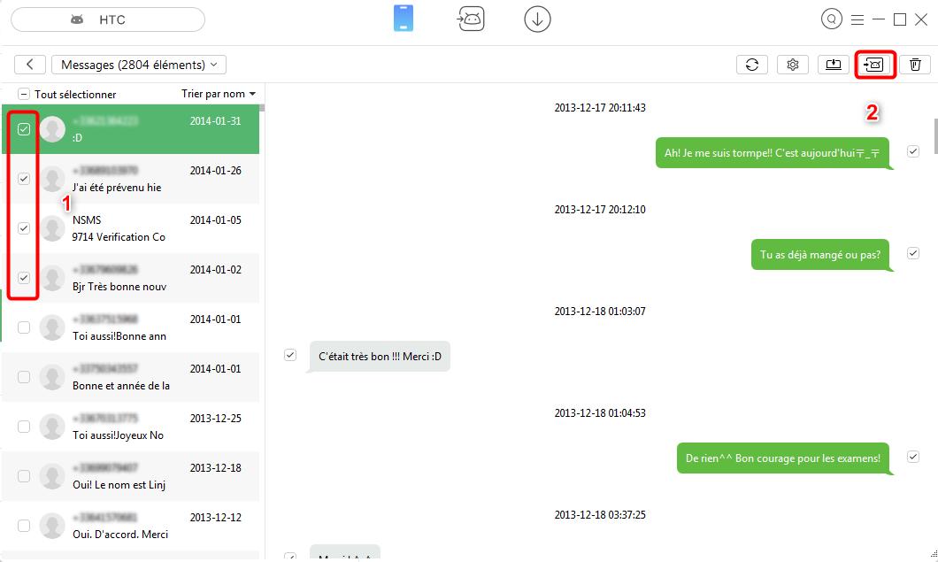Transférer les données HTC vers Samsung sélectivement avec facilité- étape 3