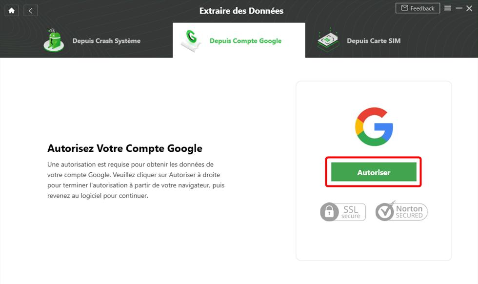 Autorisez votre compte Google