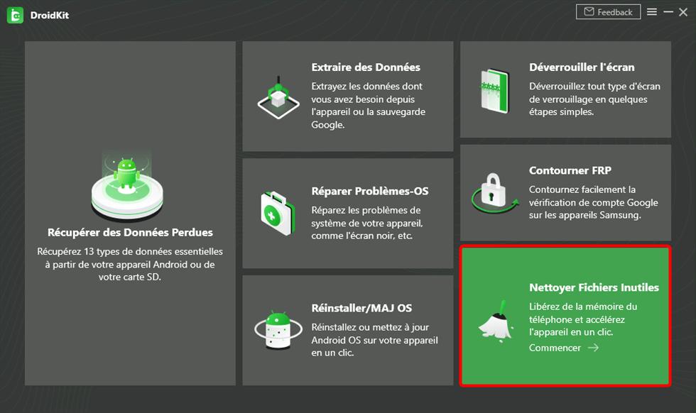 Cliquez sur Nettoyer Fichiers Inutiles