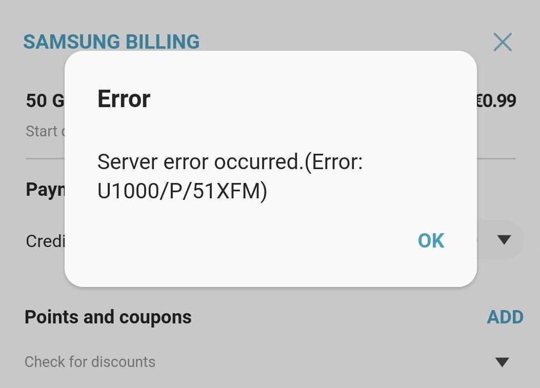 Echec de connexion au serveur de Samsung Cloud