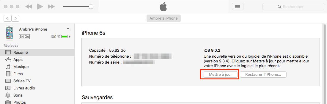 Mise à jour vers iOS 11 via iTunes