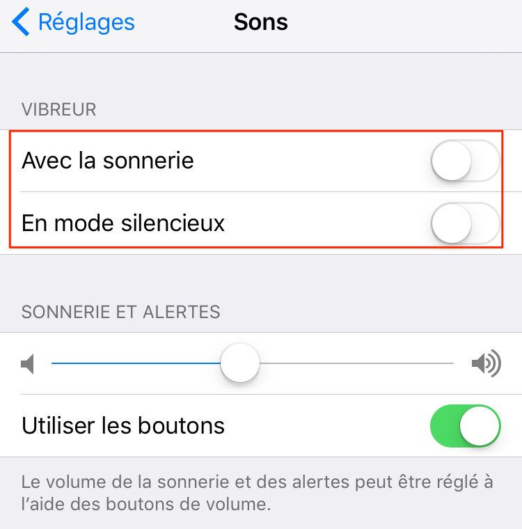 Économiser batterie iPhone – Désactiver le mode vibreur