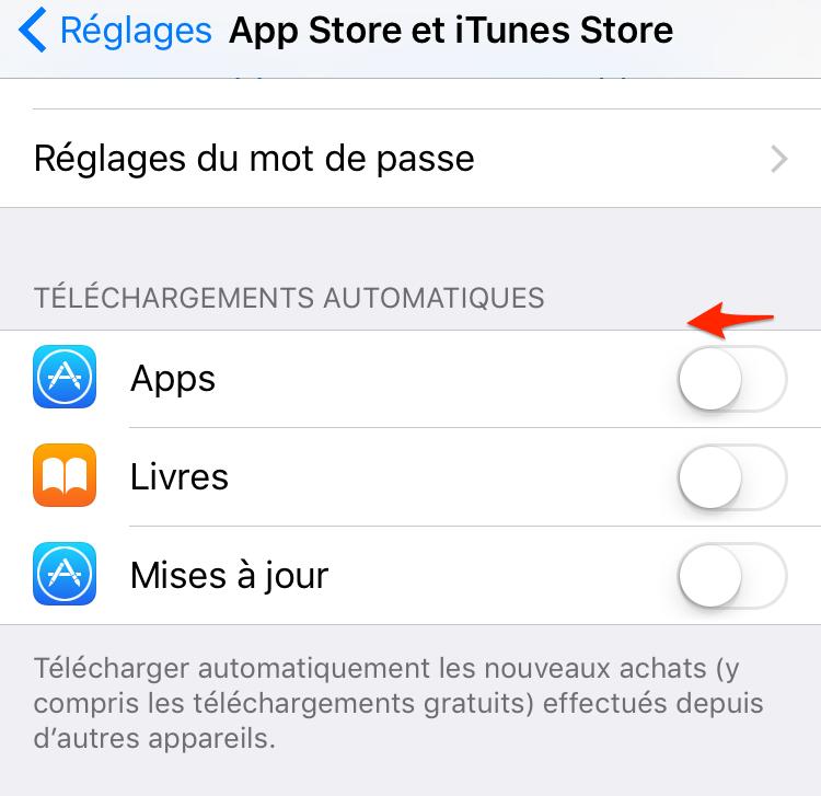 Économiser batterie iPhone – Désactiver Téléchargements automatiques