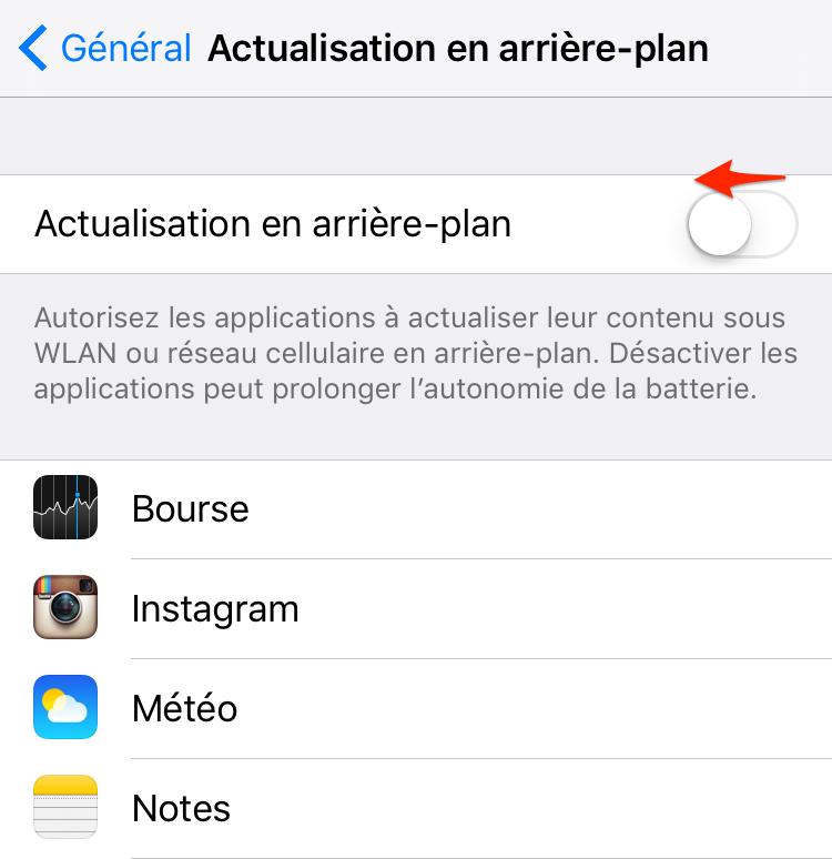 Économiser batterie iPhone – Désactiver l'actualisation en arrière-plan