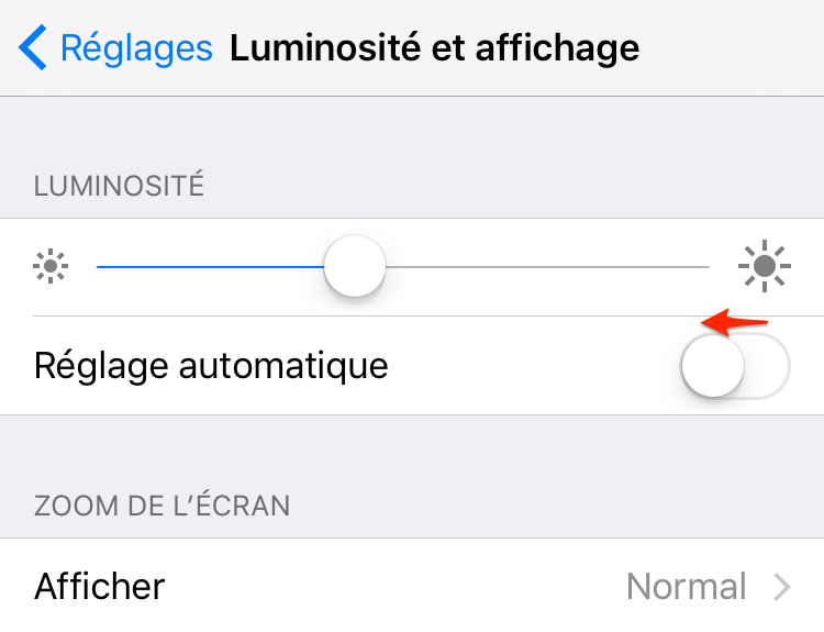 Économiser batterie iPhone – Baisser la luminosité de l'écran