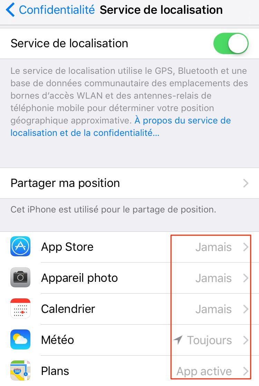 Économiser batterie iPhone – Désactiver le service de localisation