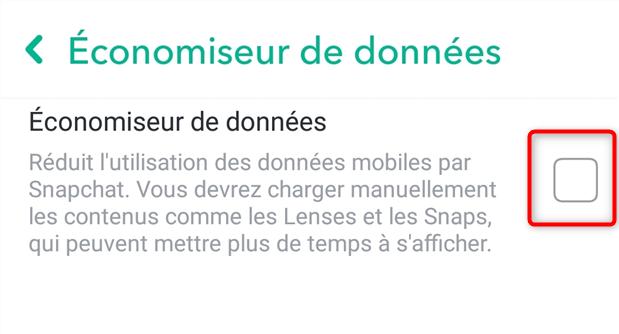 Activation de l'économiseur de données de Snapchat