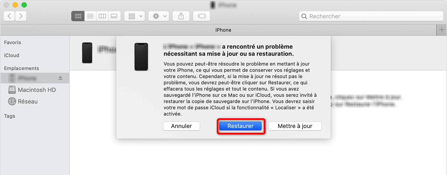 Restauration de l'iPad
