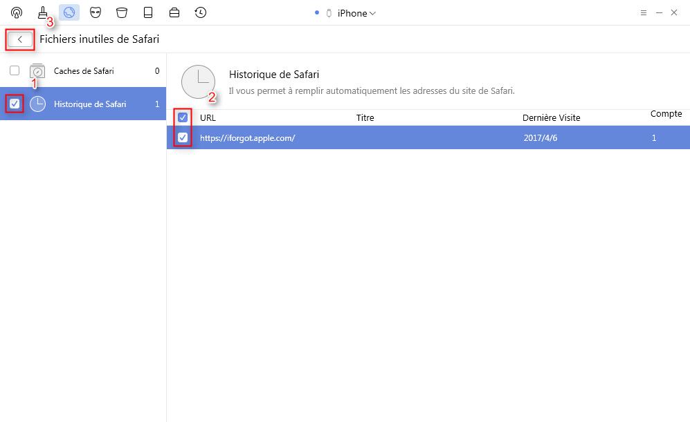 Supprimez l' historique de Safari sur votre iPhone avec PhoneClean- étape 3